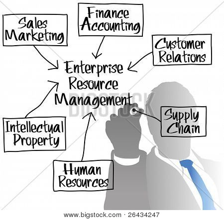 ERM manager drawing Enterprise Resource Management chart