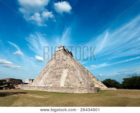 Ancient Mayan pyramid (Pyramid of the Magician, Adivino) in Uxmal, Mexico