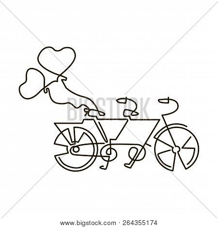Vector Line Icon. Tandem Bike. Wedding. One Line Drawing. Isolated On White Background. Continuous S