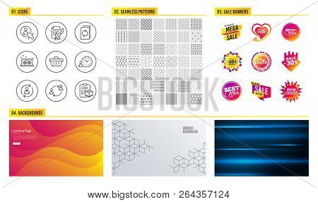 Seamless Pattern. Shopping Mall Banners. Set Of Feather Signature, Shopping Basket And Person Info I
