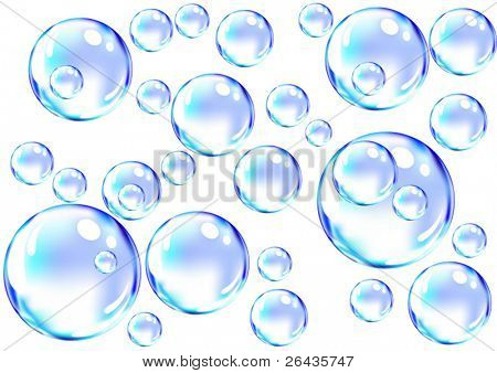 vector of blue soap bubbles