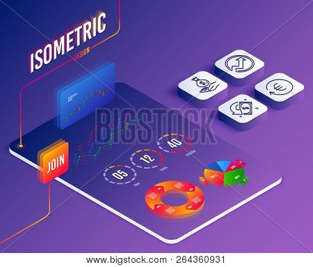 Isometric Vector. Set Of Exchange Currency, Income Money And Audit Icons. Cashback Sign. Reshresh Ex