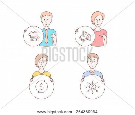 People Hand Drawn Style. Set Of Cashback Card, Cash And Dollar Exchange Icons. Networking Sign. Mone