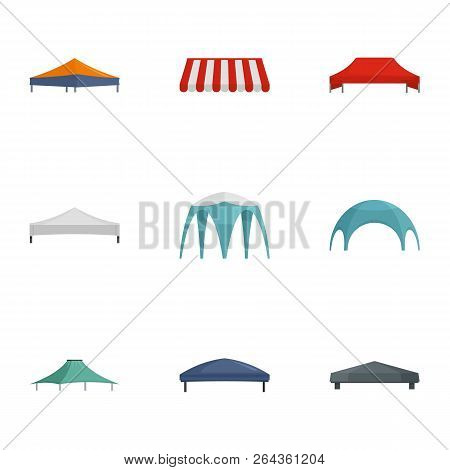Commercial Tent Icon Set. Flat Set Of 9 Commercial Tent Vector Icons For Web Design