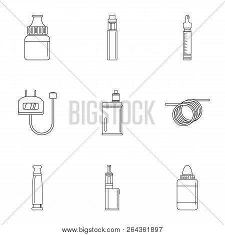 Electronic Cigar Device Icon Set. Outline Set Of 9 Electronic Cigar Device Vector Icons For Web Desi