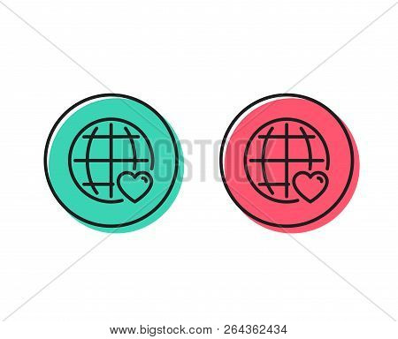 International Love Line Icon. Heart With Globe Symbol. Valentines Day Sign. Positive And Negative Ci