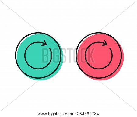 Refresh line icon. Rotation arrow sign. Reset or Reload symbol. Positive and negative circle buttons concept. Good or bad symbols. Synchronize Vector poster