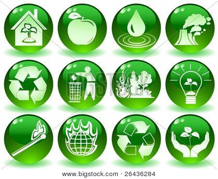 vector of green icons with symbols of nature