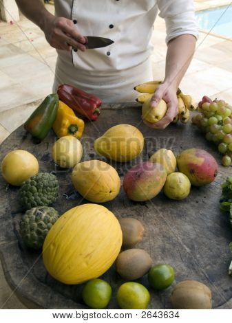 Chef About To Cut Exotic Fruits