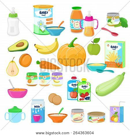 Baby Food Vector Child Healthy Nutrition Milk Fresh Juice With Fruits And Vegetable Mashed Puree For