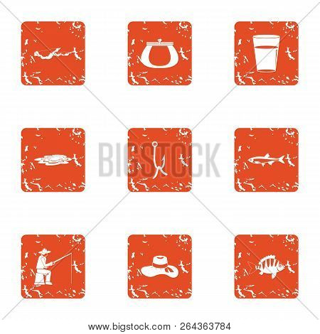 Rest On The Shore Icons Set. Grunge Set Of 9 Rest On The Shore Vector Icons For Web Isolated On Whit