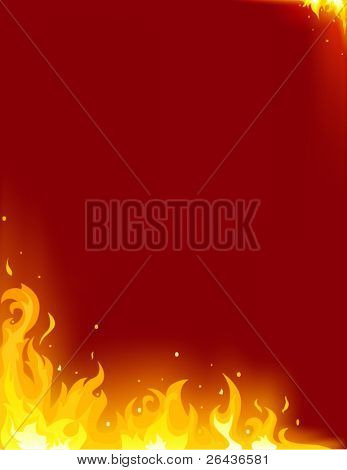 Fire card on a red background