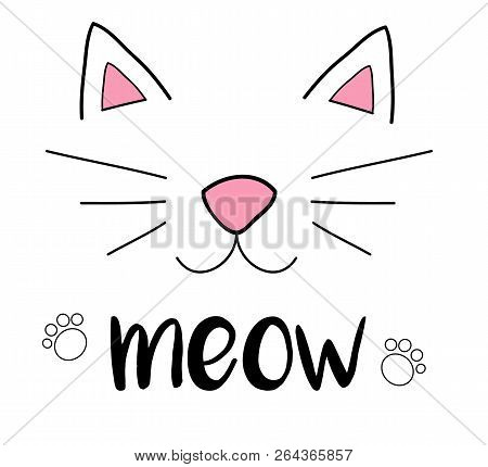 Cat meow vector illustration drawing with writing, black outlines of cat's head, cat snout with ears, whiskers and paws