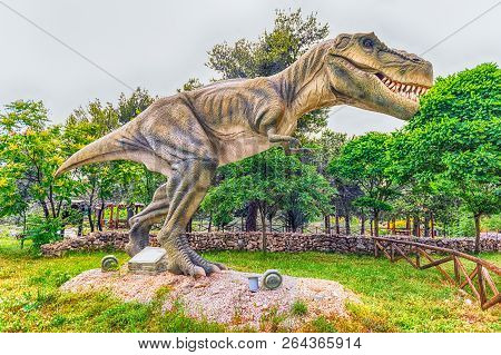 San Marco In Lamis, Italy - June 9: Tyrannosaurus Rex Dinosaur, Aka T-rex, Featured In The Dino Park