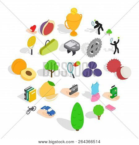 Natural Stamina Icons Set. Isometric Set Of 25 Natural Stamina Vector Icons For Web Isolated On Whit