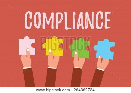 Writing note showing Compliance. Business photo showcasing Action Fact of complying with wish or comanalysisd rules following poster