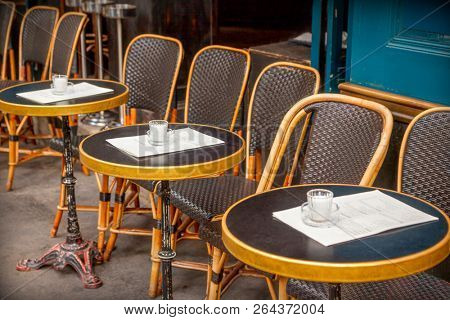Typical outdoor cafe in Paris