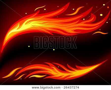 Card with fire background