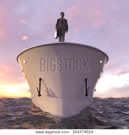 successful businessman standing on the prow of the ship, 3d illustration