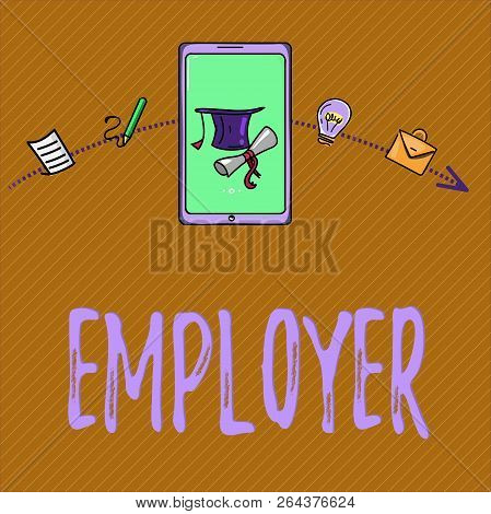 Text Sign Showing Employer. Conceptual Photo Demonstrating Or Organization That Employs Showing For