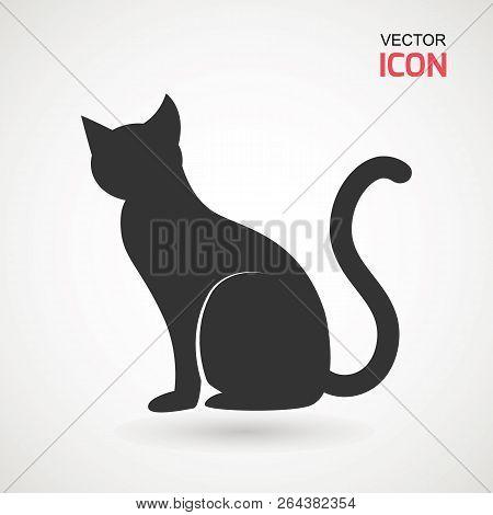 Cat Icon. Silhouette Of Cat Vector Icon. Pet Illustration.