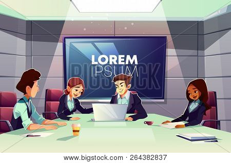 Multinational Team Of Business People Working Together In Office Meeting Room Cartoon Vector. Compan
