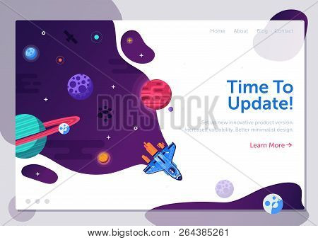 Product Update Illustration With Space Shuttle. Business Start Up Or Project Launching Web Banner Wi