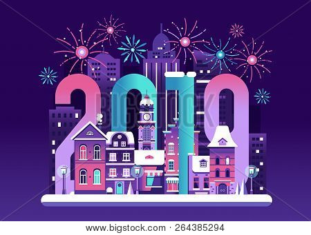 2019 New Year Eve Card With Europe Winter Night City And Fireworks. Snowy Christmas Street Flat Land