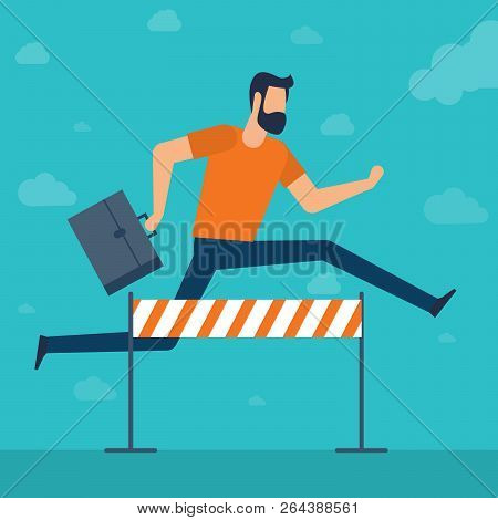 Young Businessman With Briefcase  Jumping Over The Obstacle. Race For Success. Flat Design Vector Co