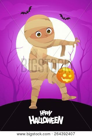 Boy In Halloween Mummy Costume Cartoon Vector Character For Party Vector