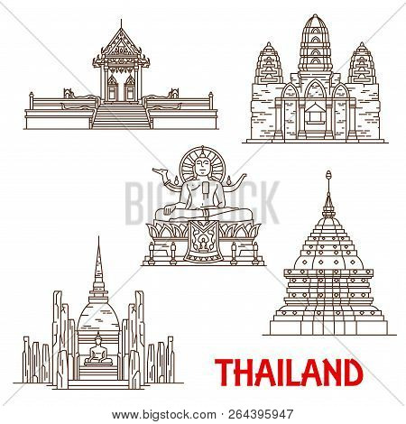 Thailand Famous Historic Architecture And Buddhist Shrine Temples. Vector Thin Line Facades Of Samui