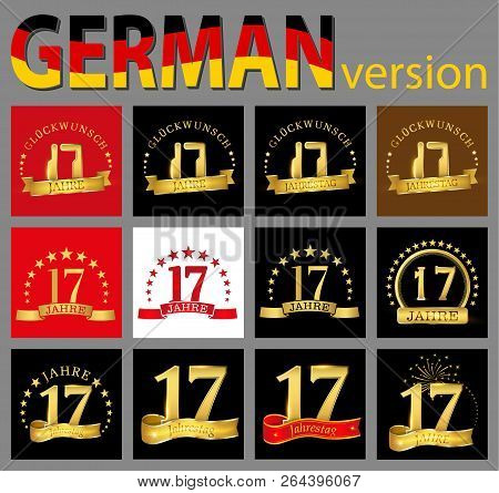 Set Of Number Seventeen (17 Years) Celebration Design. Anniversary Golden Number Template Elements F