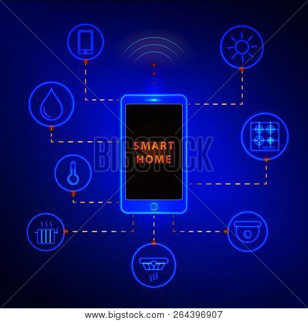 Smart Home Controlled Smartphone. Internet Technology Of Home Automation System. Mobile Phone And Wi