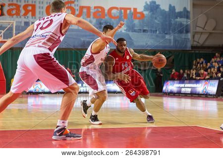 Samara, Russia - December 17: Bc Atomeromu Guard Deonta Vaughn #14 Drives To The Basket During The B