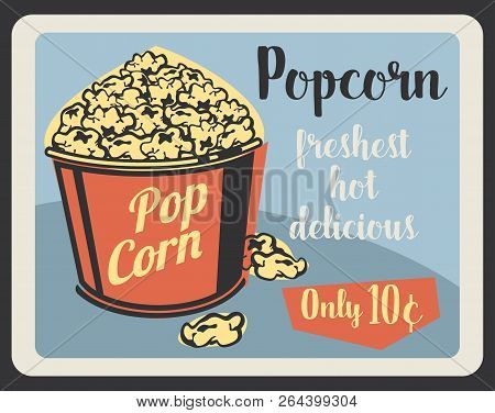Popcorn Fast Food Menu, Cinema Bar Or Cafe. Vector Retro Poster Of Sweet Or Salty Fastfood Popcorn B