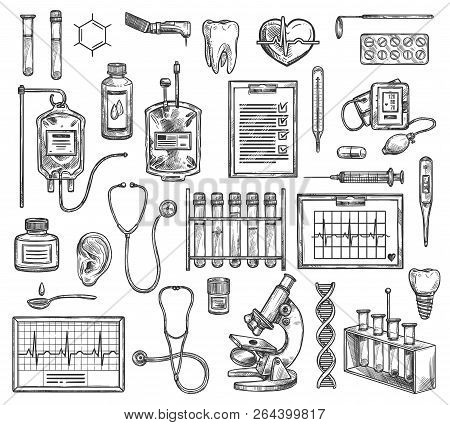 Medical Surgery, Hospital Therapy Medicine Equipment. Vector Sketch Of Cardiology, Cardiogram, Otola