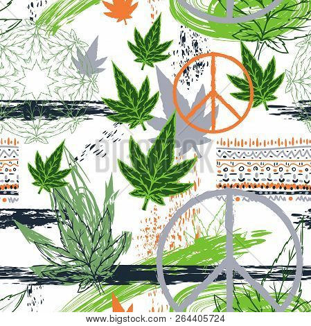 Seamless Pattern With Cannabis Leaves, Hippie Peace Symbol, Ethnic Ornament And Grunge Brush Strokes
