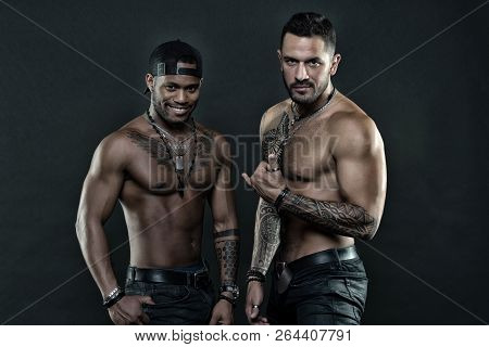 Tattoo Artists. Brutal Macho Style. Sexy Men With Muscular Torso. Muscular Men With Fashionable Tatt