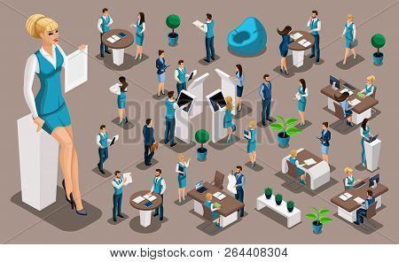 Isometric Set 5, Bank Icons With Bank Employees, Woman Bank Worker, Customer Service Manager. Financ