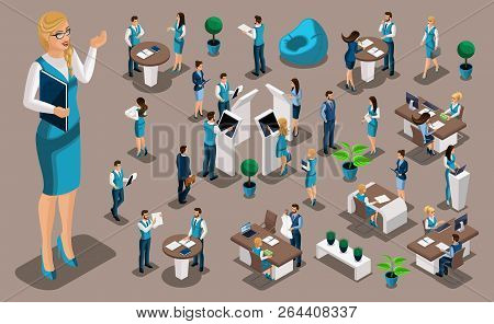 Isometric Set 3, Bank Icons With Bank Employees, Woman Bank Worker, Customer Service Manager. Financ
