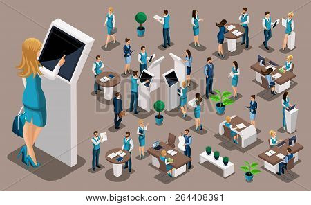 Isometric Set 1, Bank Icons With Bank Employees, Woman Bank Worker, Customer Service Manager. Financ