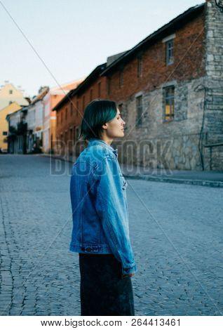 Portrait of a young woman tourist