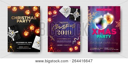 Set Of Christmas Party 2019 Invitations. Winter Composition With Christmas Lights, Greeting Text, Gi