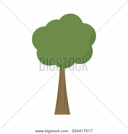 Tree Vector Illustration. Tree With Green Crown, Treetop And Brown Trunk. Graphic Print Or Icon, Iso