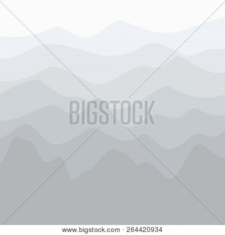 Silhouette Of Mountains At Sunrise , Early Morning Mountain View, Peaks And Ridges In Shades Of Gray