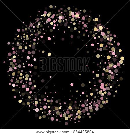Pink Gold Confetti Circle Decoration For New Year Poster Background. Bokeh Lights Effect Vector. Gol