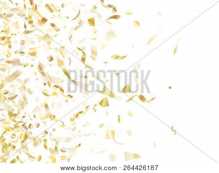 Gold Glitter Confetti Flying On White Holiday Vector Background. Vip Flying Sparkle Elements, Gold F