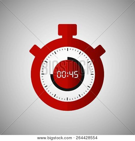 Stopwatch Icon In Flat Style, Red Timer On Gray Background. Sport Clock. Vector Design Element For Y