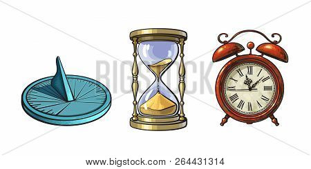 Set Of Different Old Clocks. Sundial, Hourglass, Alarm Clock. Hand Drawn Vector Illustration In Vint