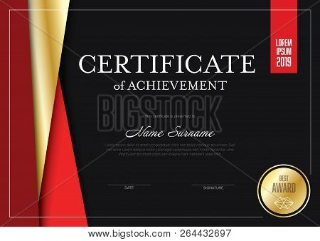 Modern Certificate Of Achievement Template With Place For Your Content - Material Dark Red And Golde
